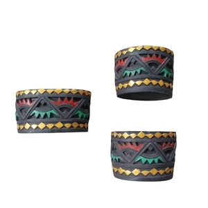 Tealight Candle Holder Set of 3 Aztec Mayan Style Resin